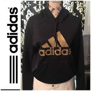 EUC Ladies Adidas Hooded Sweatshirt With Gold Logo